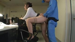 Japanese secretary fucked from behind and jizzed on face