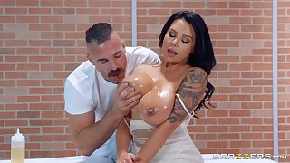Astounding and oiled Sheridan Exalt enjoys sex on the top of the massage table