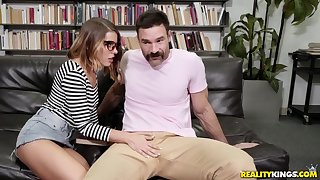 Lubricious dweeb Adriana Chechik deepthroats and fucks at a library