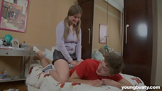 Busty amateur teen Jeanne gives her boyfriend a massage before fucking