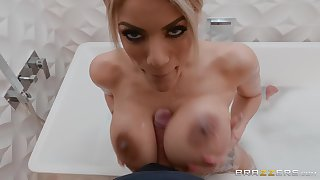 Blonde MILF bombshell Amber Alena rides hard for a facial