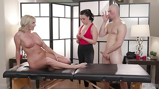 Massage session leads these three to a wild cock share