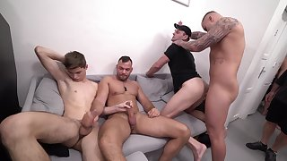 Lads are having a wild time ass fucking in group scenes
