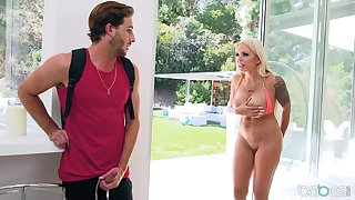 Nina Elle evil-smelling at the end of one's tether her neighbor and her fucks her brains out