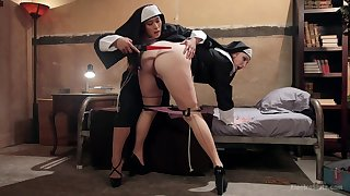 Mia Little and Sophia Locke dressed as nuns have torture session