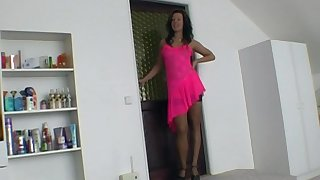 POV video of amateur wife Chyla in a pink dress giving a blowjob