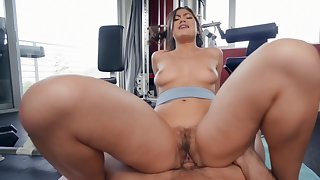 Aroused Asian with big ass, nasty riding porn forwards gym