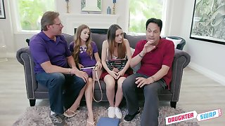 Two naughty students fluctuate stepdad for hardcore foursome making love