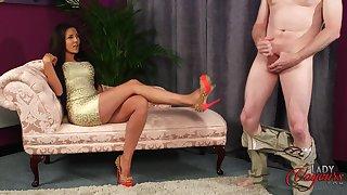 Pornstar Bella Fuentes shows her tits to a dude who masturbates