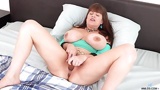 Alone busty housewife Rebecca Fancy gets rid of Y-fronts to rag her wet pussy