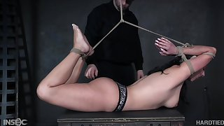 Babe is bound hogtied whipped and punished like never in the lead