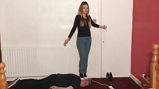 High-Heeled Neonate Dances and Tramples Slave's Head Fetish