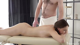 For detail MMF threesome on the knead table with layman Nicki Down in the mouth