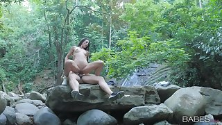 Overt woman rides cock in the forest be worthwhile for a seductive cam operation