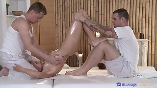 Uncorrupted massage with an increment of trine sex for a young blonde