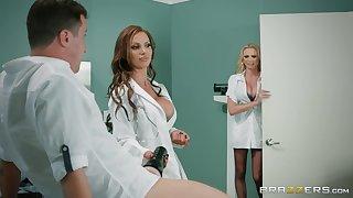 Premium nurses are enjoying a pretty beamy dick in a hot threesome