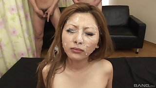 Herculean facial for the young Asian after her first gangbang