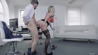Long time since this fine ass office MILF last fucked with will not hear of boss