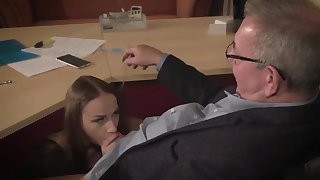Surprising brunette with regard to glasses is having a ffm threesome at work and enjoying it a lot