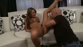 Young brunette Heather Hurley in her first UK casting